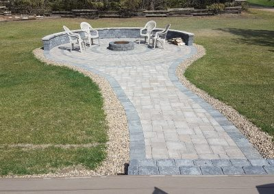 Sidewalk / Firepit Area  Roman Pavers (Oldtown) accent (Charcoal)